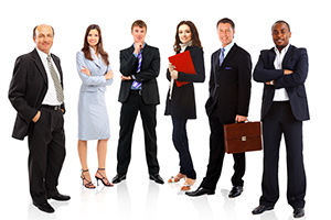 A row of happy employees